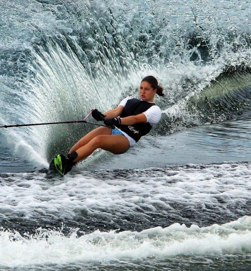 Twelve-year-old Liz Tynan of Columbus, Indiana practices for the 70th GOODE Water Ski National Championships on the slalom course at Okeeheelee Park Monday. The Championships will be held Tuesday through Saturday. (Bruce R. Bennett/The Palm Beach Post)